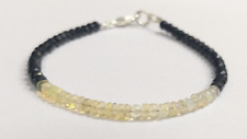 "AAA Ethiopian Opal & Black Spinel Gemstone Rondelle Faceted Beaded 7"" Bracelet"