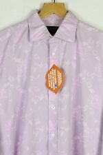 Mens DUCHAMP Shirt FLORAL CHAMBRAY Long Sleeve Size XL SLIM 17.5 Collar PINK P16