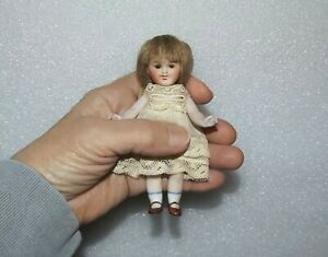 "ANTIQUE ALL BISQUE Jointed Brown Glass Eyes #155 GERMANY 4 1/2"" MIGNONETTE DOLL"