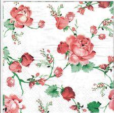 4 Single paper decoupage napkins. Wild Roses, rose, flowers  design - 430
