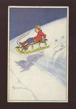 WINTER SPORTS Toboggan Sledge Child used Switzerland 1922 PPC