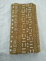 "African Bogolan yellow & White Mud Cloth Textile 64"" By 41""- MALI -  for Pillows"