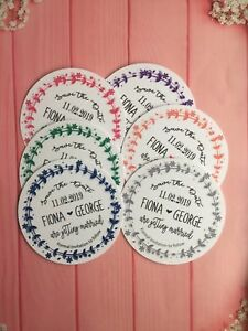 Personalised Wedding Round Magnetic Save The Date Cards with Envelopes Craft RS4