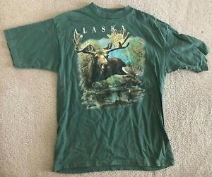 Vtg Prairie Mountain Alaska Moose Shirt Men's Large L Made in USA Green 90s