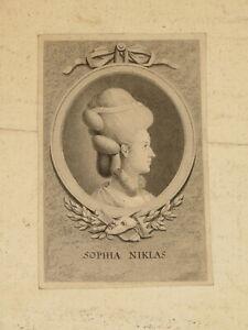 GRAVURE XVIII PORTRAIT SOPHIA NIKLAS CHANT OPERA COIFFURE MARIE ANTOINETTE 1779