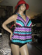 NWT SEXY**CATALINA*2 Piece~Colorful Colors~Swimsuit~Boy-shorts ~3X (22W-24W)