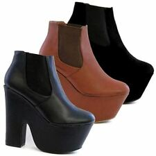 Womens Ladies Chunky Block High Heel Shoes Platform Chelsea Winter Ankle Boots