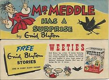 WEETIES AUSTRALIA CEREAL GIVEAWAY PROMO ENID BLYTON MR MEDDLE HAS A SURPRISE VNM