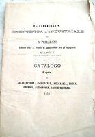 1878 CATALOGO LIBRERIA PELLERANO DI NAPOLI OPERE SCIENTIFICHE E INDUSTRIALI