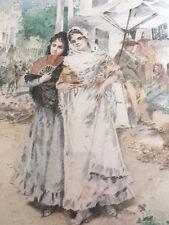 "EDWARD PERCY MORAN""YOUNG LADIES NEAR OLD SPANISH GATEWAY"" WC 1896 ORIG FRAME"