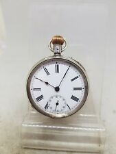 Antique solid silver gents pocket watch c1900 working ref1102