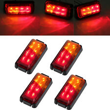 4pcs Red Amber Side Marker Light Rear LED Clearence Lamp Indicator Truck Trailer