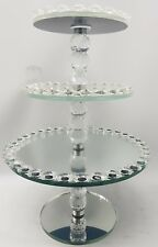 Three Tier Crystal Large Sparkly Glass Cake Stand