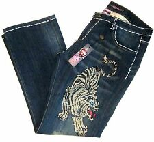 Ed Hardy Women Plus Size 20 Rhinestone Tiger Jeans Bluejean Distress Bootcut New