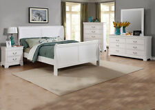 4pc Set Master Bedroom Furniture in Classic White Contemporary Full Size Bed