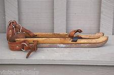Antique Wooden Dutch Ice Skates Super PB De Friesche Schaat Rustic Cabin Decor