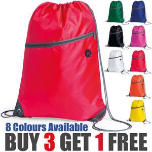 Premium Zipper Drawstring School Bag Sports Gym Sack Swim PE Kit Shoe Bag Lot