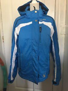 SPYDER RN# 64902 Blue/White Zipper Front Insulated Winter Girls Jacket Sz 20