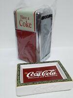 "Vintage 1992 Coca Cola ""Have A Coke"" Metal Napkin Dispenser & Ceramic Soap Dish"