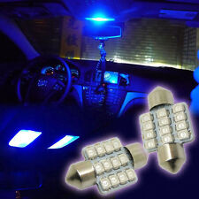 "2pcs Deep Blue 1.25"" 31mm 12-SMD 3528 LED Bulbs For Car Interior Dome Light Lamp"