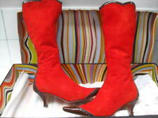 Ladies PAUL SMITH red real leather suede knee high BOOTS size UK 5 kitten heels