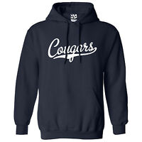 Cougars Script & Tail HOODIE - Hooded School Sports Team Sweatshirt - All Colors