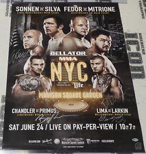 Fedor Emelianenko Wanderlei Silva + Bellator NYC MSG Signed 24x36 Poster BAS COA
