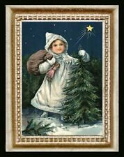 Vintage Victorian Christmas Tree Girl Miniature Dollhouse Picture