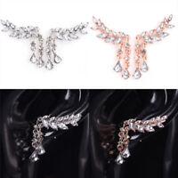 Elegant Crystal Rhinestone Leaves Tassel Women Zircon Ear Stud Earrings JewelJCA