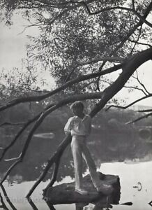1960 Young Boy Male Dressed Up River Tree Vintage Photo Gravure Art By Don Wight