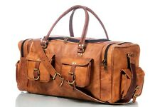 "Leather 23"" Overnight Bag Travel Duffel Gym Weekender Vintage Genuine Luggage"