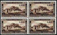 Repubblica - 1949 - Repubblica Romana - quartina nuova MNH - Sassone n.600