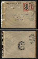 Guadeloupe  134, 166  on double censor cover to  US  1944           SSS0412