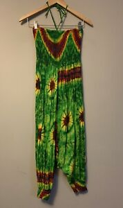 Ladies Tie Dyed Boho Jumpsuit Size 8 Colourful Shirred Drop Crotch Festival