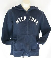 Womens Tommy Hilfiger Hoodie Sz M Navy Zip Front Spell Out Sweatshirt
