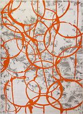 "Orange Ivory Modern 8x10 Area Rug Abstract Paint Swirls Carpet Approx 7'8""x10'2"""