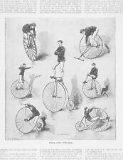 OLD ANTIQUE PRINT  CYCLING PENNY FARTHING  BICYCLE BIKE c1890's