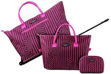 Jacki Design Rolling 3 Pc Travel Bag Matching Luggage Set Travel Tote Cosmetic