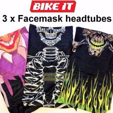 3 x Neck & face tube, Headtube Bandana Skull cap Headband mask Motorcycle MTB