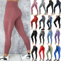 Women Sport Pants High Waist Yoga Fitness Leggings Running Workout Gym Trousers