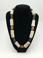 Original Handmade Wooden Beaded Thick Deer Antler Necklace Mens/Womens