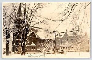 Glasgow MO~In Winter White: St Mary's Catholic Church & Parish House c1918 RPPC