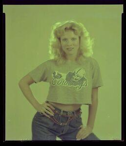 LQQK 5x4 vintage 1980s negative LOVELY COWBOYS GLAMOUR BLONDE BEAUTY #2