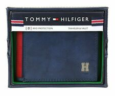 Brand New Tommy Hilfiger Men's Rfid Leather Credit Card Id Traveler Wallet