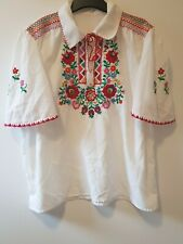 Folk Art Blouse Vintage 1970-s Size M(12-14) Hand-Made and Embroidered