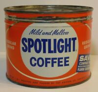 Rare Vintage 1950s SPOTLIGHT COFFEE KEYWIND COFFEE TIN ONE POUND CINCINNATI OHIO
