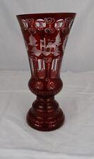 Antique Ruby Red Bohemian Etched Beveled Crystal Vase Bird/Castle Pattern