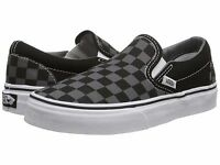 Men's Vans Classic Slip-on Black Pewter Checkerboard Fashion Sneakers All Sz NEW