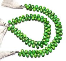 """Natural Gem Green Copper Turquoise 10x7MM Smooth Pear Shape Briolette Strand 9"""""""