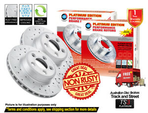 For AUDI A6 C7 345mm 2011-On FRONT Slotted Drilled Disc Brake Rotors (2)